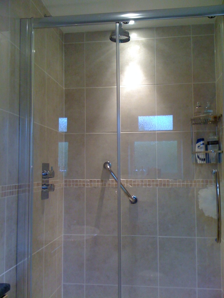 Traditional bathroom with walk in shower