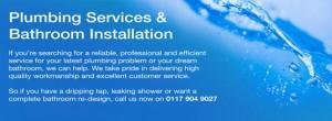Text describing plumbing services & bathroom installation